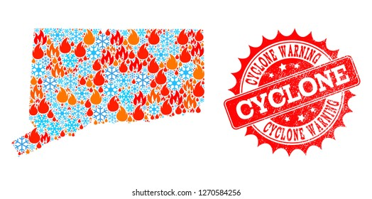 Composition of winter and flame map of Connecticut State and Cyclone Warning grunge stamp seal. Mosaic vector map of Connecticut State is composed with winter and flame icons.