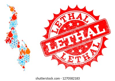 Composition of winter and flame map of Malawi and Lethal grunge stamp seal. Mosaic vector map of Malawi is composed with winter and fire icons. Lethal stamp has red color,