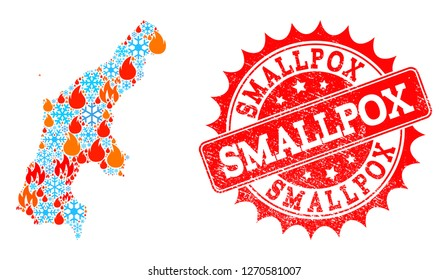 Composition of winter and flame map of Saipan Island and Smallpox grunge stamp seal. Mosaic vector map of Saipan Island is formed with winter and flame symbols. Smallpox stamp has red color,