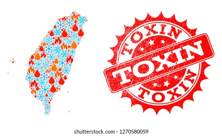 Composition of winter and flame map of Taiwan and Toxin grunge stamp seal. Mosaic vector map of Taiwan is formed with winter and fire icons. Toxin stamp has red color,