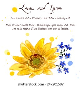 The composition of yellow sunflower painted in watercolor for your design