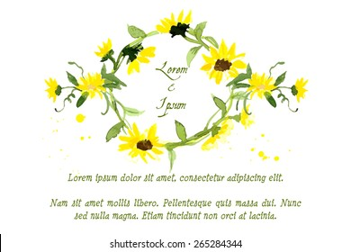 Composition of yellow sunflower painted in watercolor for your design