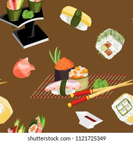 Compositions of appetizing sushi on a mat and stand with them chopsticks and seasonings. Vector seamless pattern
