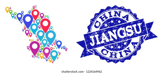Compositions of bright Map of Jiangsu Province and grunge stamp seal. Mosaic vector Map of Jiangsu Province is composed with bright map markers. Abstract design elements for touristic wallpapers.
