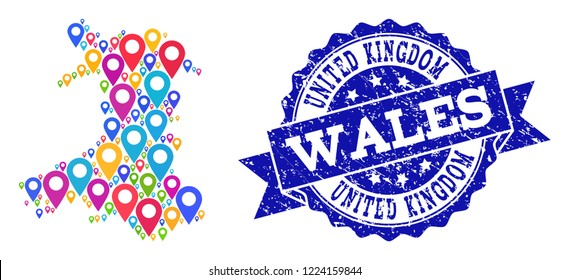 Compositions of bright map of Wales and grunge stamp seal. Mosaic vector map of Wales is designed with bright map pins. Abstract design elements for patriotic wallpapers. Blue stamp contains rosette,