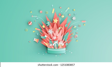 Compositions of Christmas float up from firework box. Graphic design for Christmas season. paper cut and craft design. vector. illustration.