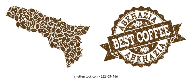 Compositions of coffee map of Abkhazia and grunge stamp seal. Mosaic vector map of Abkhazia is composed with coffee beans. Flat design elements for coffeeshop purposes. Stamp contains rosette, ribbon,