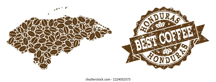 Compositions of coffee map of Honduras and grunge stamp seal. Mosaic vector map of Honduras is created with coffee beans. Flat design elements for cafeteria projects. Stamp contains rosette, ribbon,
