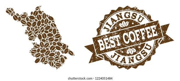 Compositions of coffee Map of Jiangsu Province and grunge stamp seal. Mosaic vector Map of Jiangsu Province is created with coffee beans. Flat design elements for cafe applications.