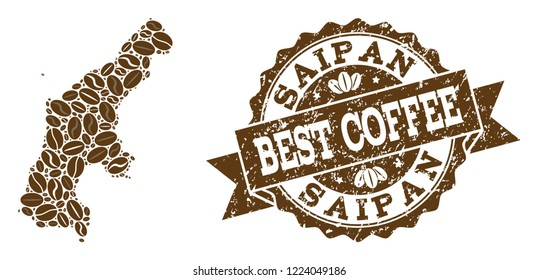 Compositions of coffee map of Saipan Island and grunge stamp seal. Mosaic vector map of Saipan Island is created with coffee beans. Flat design elements for coffeeshop posters. Stamp contains rosette,