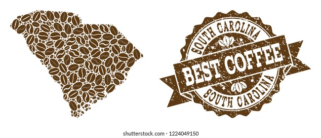 Compositions of coffee map of South Carolina State and grunge stamp seal. Mosaic vector map of South Carolina State is designed with coffee beans. Abstract design elements for cafeteria posters.
