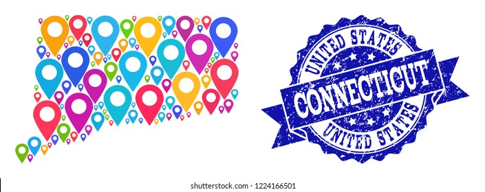 Compositions of colorful map of Connecticut State and grunge stamp seal. Mosaic vector map of Connecticut State is formed with colorful site pins. Flat design elements for site applications.