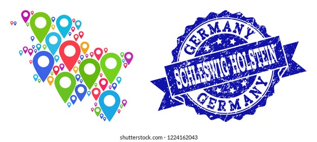 Compositions of colorful map of Schleswig-Holstein State and grunge stamp seal. Mosaic vector map of Schleswig-Holstein State is created with colorful site pins. Abstract collage for site purposes.
