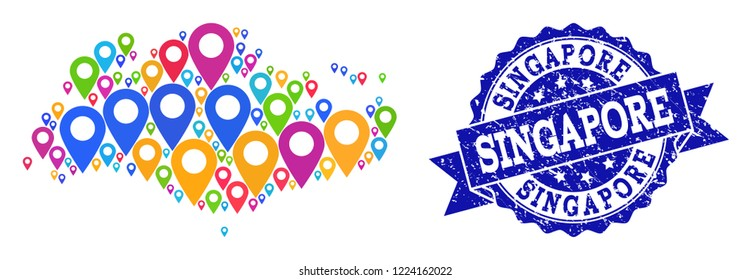 Compositions of colorful map of Singapore and grunge stamp seal. Mosaic vector map of Singapore is created with bright site pins. Abstract design elements for site posters.