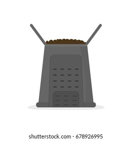 compost bin icon. Vector illustration isolated on white background