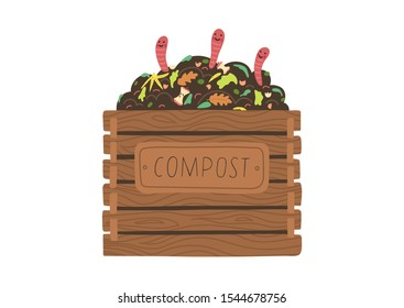 Compost box with with funny worms.  Recycling concept. Flat vector illustration