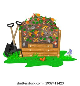 Compost box with organic soil material and worms isolated on white background. Wooden bin with ground and food garbage. Organic fertilizer pile. Recycling, zero waste and composting concept.Vector