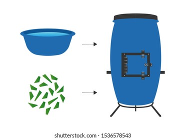 Compost tumbler icon. Flat style vegetable kitchen scraps and green compost bin on background with doodles. Organic waste for domestic composting. Empty trash can and dustbin full of organic kitchen.