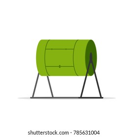 Compost tumbler icon. Vector image isolated on white background.