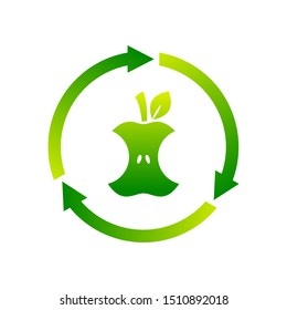 Compostable sign, icon, symbol. Apple core inside circle arrows. Biodegradable product label. Organic waste. Recycle food logo. Compost, recyclable, concept. Vector illustration, flat style, clip art.