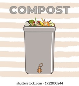 Composting bin with kitchen scraps, fruits and vegetables. No food wasted. Recycling organic waste, compost. Sustainable living, eco-friendly zero waste concept. Hand drawn vector illustration.