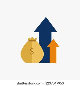 Compound interest, added value, financial investments stock market, future income growth, revenue increase.Vector illustration.