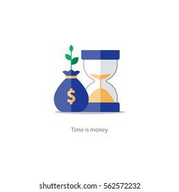 Compound interest, time is money, financial investments stock market, future income growth, revenue increase, money return, pension fund plan, budget management, savings account, banking vector icon