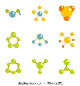 Compound neurons icons set. Flat illustration of 9 compound neurons vector icons for web design