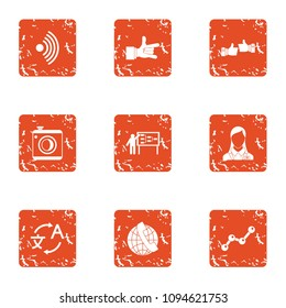 Comprehensive icons set. Grunge set of 9 comprehensive vector icons for web isolated on white background