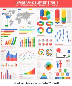 A comprehensive Template set for infographics.  - Bar charts - Graphs - Pie Charts - Detailed World Map - Pointer Icons - Story Line Templates Vector file is EPS v.10 and is organized with layers