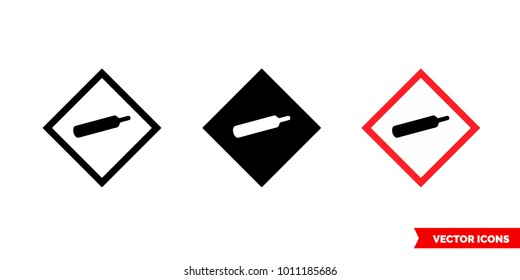 Compressed gas hazard icon of 3 types: color, black and white, outline. Isolated vector sign symbol.