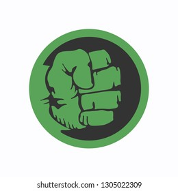 Compressed green fist. Hulk icon. Vector illustration. EPS 10.