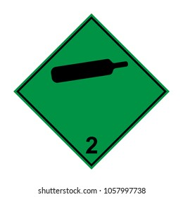Compressed non-flammable non-toxic gas, ADR 2 green and black sign, vector illustration.