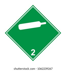 Compressed non-flammable non-toxic gas, ADR 2 green and white sign, vector illustration.