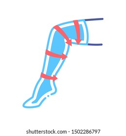 Compression stockings line color icon. Orthopedic knitwear. Rehabilitation and treatment after injuries and in the postoperative period, venous diseases, leg swelling.