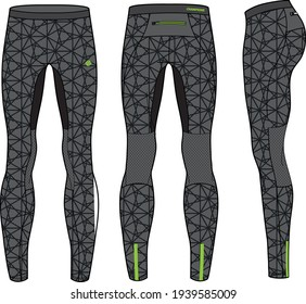 Compression Tights Pants  design vector template, Base layer Performance bottom concept with front and back view for running, jogging, fitness,  and  active wear pants design.