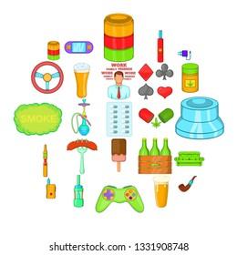 Compulsive gambling icons set. Cartoon set of 25 compulsive gambling vector icons for web isolated on white background