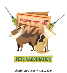 Compulsory pets vaccination orthogonal background composition with cat and dog in protective cone collars and syringes vector illustration