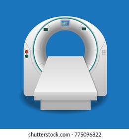 Computed tomography or computed axial tomography scan machine icon vector illustration.