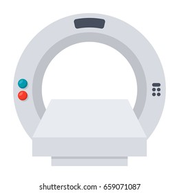 Computed tomography concept with magnetic resonance imaging scanner, vector illustration in flat style