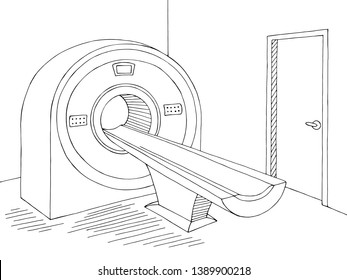 Computed tomography scan device hospital room interior graphic black white sketch illustration vector