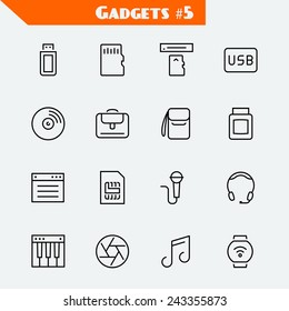 Computer accessories and gadgets icon set: flash drive, memory card, card reader, usb hdd, cd, laptop bag, camera bag, toner, soft, sim card, microphone, headset, synthesizer, shutter, smart watch