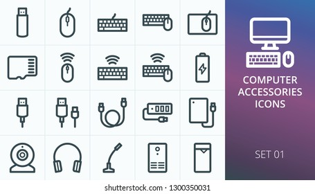 Computer accessories icons set. Set of accessories for pc, computer, desktop, laptop, notebook - wireless mouse, keyboard, flash drive, usb cable, mic, cam, headphones, ups, usb hub vector icons