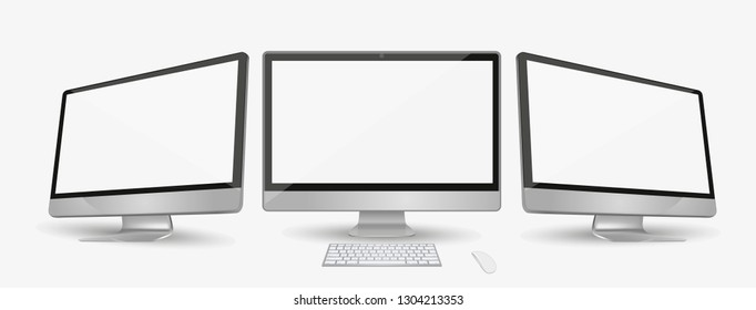 Computer in apple Imac style display with two angles. Imac isolated on white eps10 vector.  Imac desktop pc vector mockup.