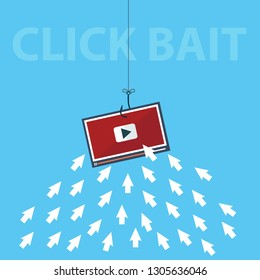 Computer arrow Icons are like Fish gathering to Click a Bait Concept. Editable Clip Art. - Vector illustration