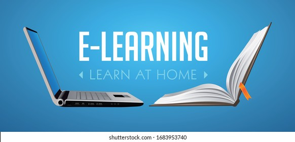 Computer as book knowledge base concept - laptop as elearning idea - stay at home and learn without going to school