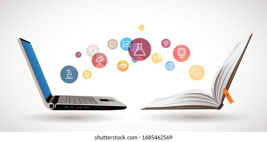 Computer as book knowledge base concept - laptop as elearning idea - stay at home and learn math, biology, history, geography, chemistry, physics, english