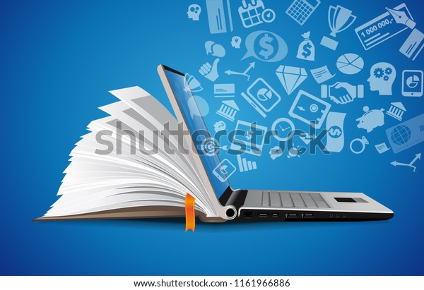 Computer as book knowledge base concept - laptop as elearning idea