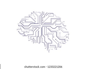 Computer brain electronic print plate illustration vector
