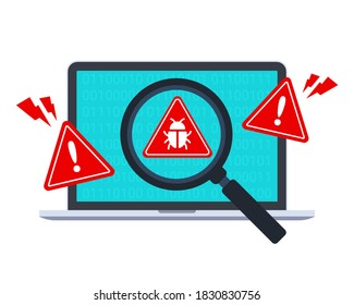 Computer bug detection icon. System error warning on a laptop. Emergency alert. Scanning for malware, virus, scam, or bug with a magnifying glass. Antivirus concept. Illustration with the flat style.